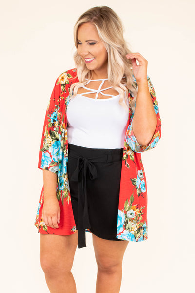 kimono, three quarter sleeve, flowy, long, red, floral, blue, yellow, comfy, spring, summer