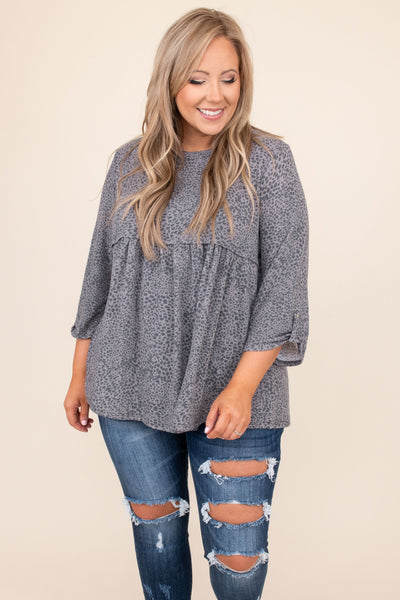 top, casual, babydoll top, grey, leopard, black, comfy, flowy, mid length sleeve, button sleeve