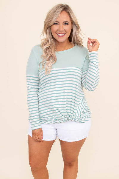 shirt, long sleeve, knotted hem, short, fitted, mint, white, striped, comfy