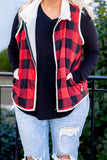 vest, buffalo plaid, red, black, Sherpa lined, collar, fall, winter