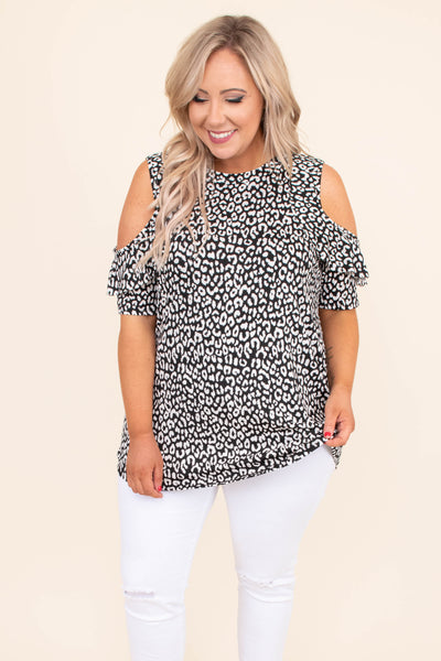 shirt, short sleeve, cold shoulder, ruffle sleeves, long, loose, black, white, leopard, comfy