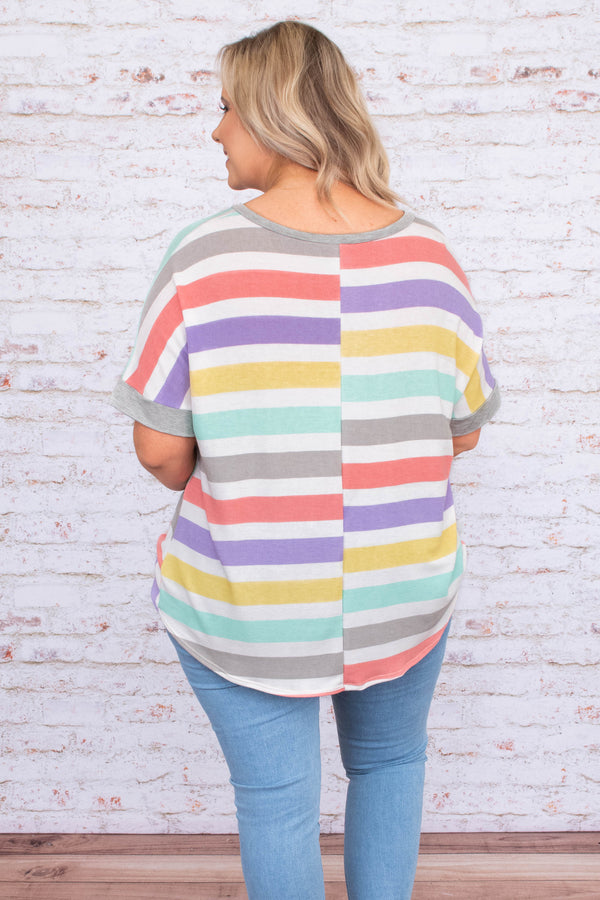 tunic, short sleeve, vneck, knotted hem, longer back, curved hem, gray, white, coral, purple, yellow, green, striped, comfy, spring, summer