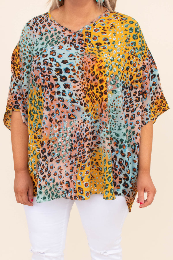 top, blouse, short sleeve, v neck, cheetah, yellow, blue, pink