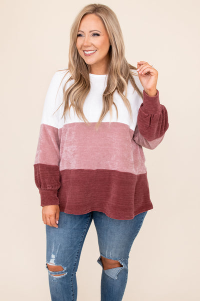 top, sweater, white, colorblock, bubble, ivory, mauve, pink, multicolored, long sleeve