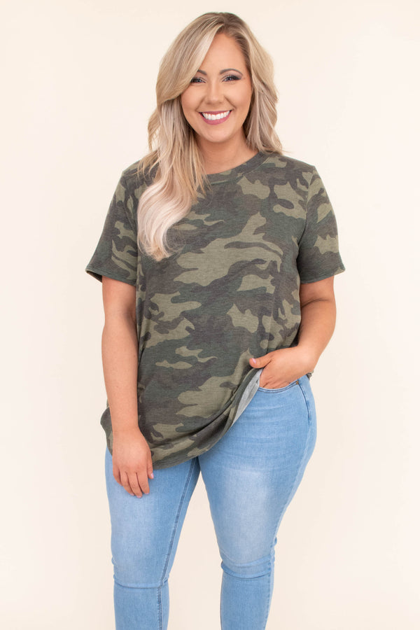 shirt, short sleeve, long, curved hem, loose, green, camo, comfy