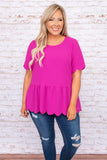 scalloped, pink, top, round neck, blouse, tiered, figure flattering