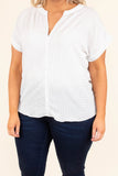 top, white, short sleeve, button down, polka dot, collared