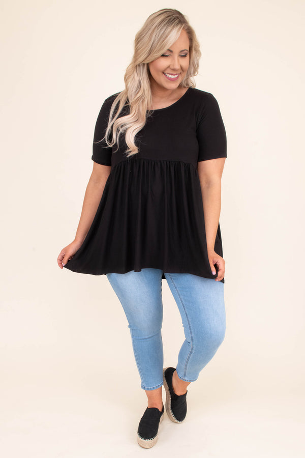 shirt, short sleeve, babydoll, long, longer back, flowy, comfy, black