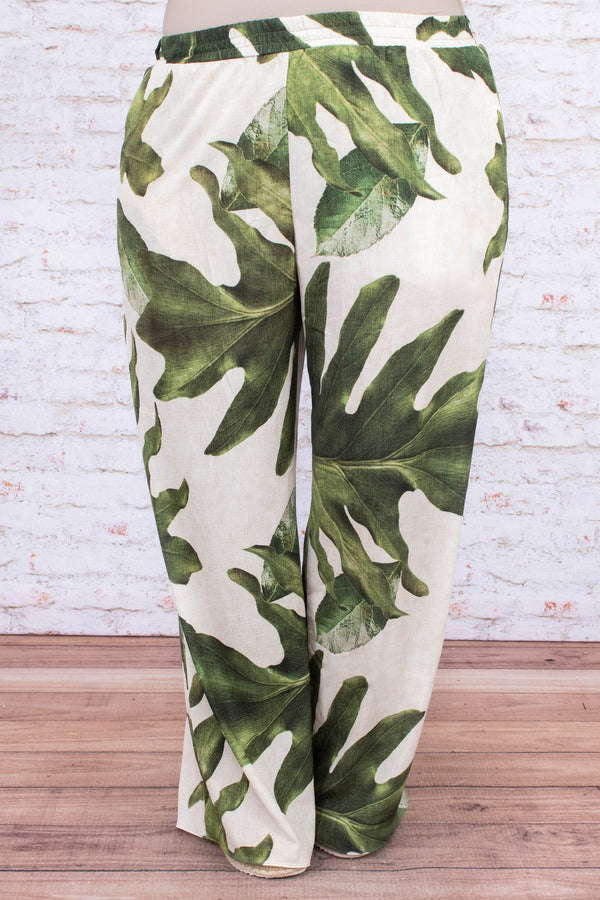 pants, long, wide leg, elastic waist, white, leaves, green, comfy