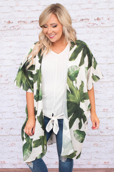 kimono, short sleeve, long, asymmetrical hem, flowy, white, leaves, green, comfy, outerwear, spring, summer