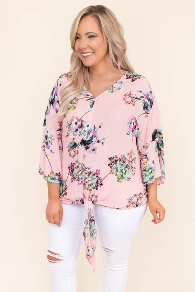 shirt, three quarter sleeve, vneck, bell sleeves, short, tie front, pink, floral, green, purple, white, comfy, spring, summer