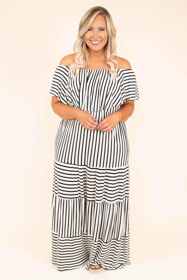 dress, maxi, short sleeve, off the shoulder, ruffle top, flowy skirt, white, black, striped, comfy