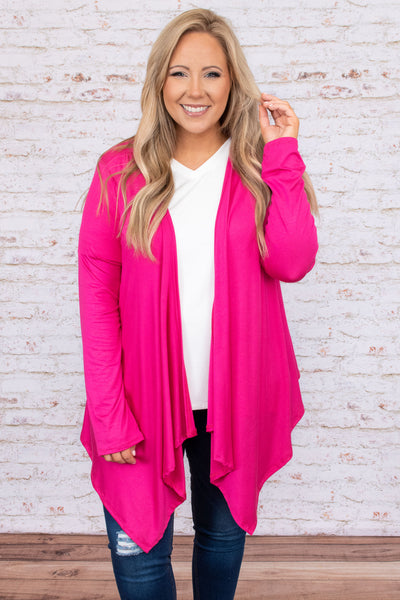 tops, cardigan, flowy, long sleeve, pink, hot pink, comfy, lounge, valentine, solid