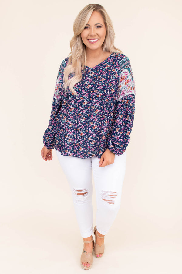 shirt, long sleeve, bubble sleeve, vneck, flowy, navy, floral, white, orange, green, pink, blue, colorblock, comfy