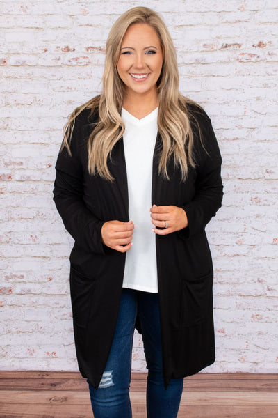 cardigan, black, long, long sleeve, knee length, flowy, layer, comfy, lounge