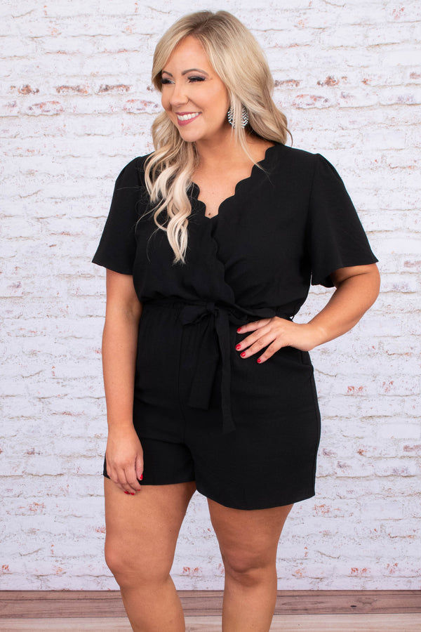 romper, shorts, short sleeve, vneck, wrap top, scallop neckline, tie waist, loose, black, comfy, spring, summer