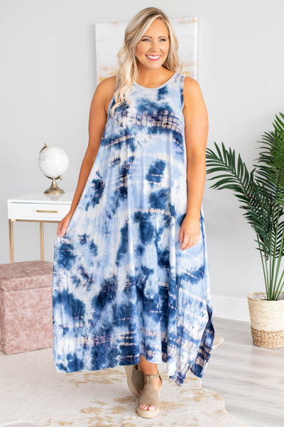dress, maxi, sleeveless, flowy, asymmetrical hem, side slits, blue, white, tie dye, comfy, spring, summer
