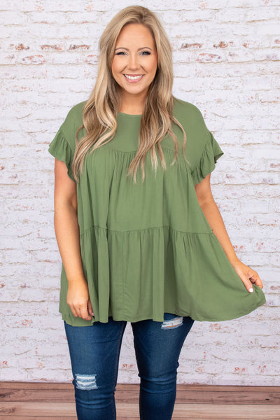 top, casual, babydoll top, green, olive, flow, short sleeve, ruffle sleeve, ruffle bottom , flowy, comfy, lounge