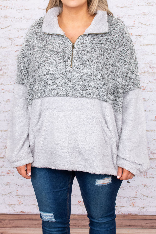 top, hoodie, pullover, gray, colorblock, long sleeve, comfy, two toned, zipper