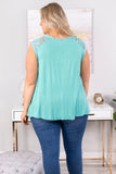 tank, cap sleeve, long, flowy, lace top, mint, comfy, spring, summer