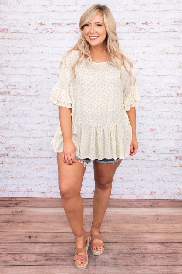 shirt, short sleeve, ruffle sleeves, babydoll, curved hem, long, flowy, cream, white, floral, comfy