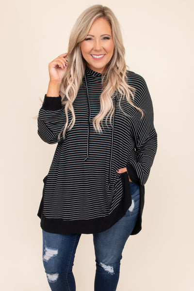 over sized, striped, black, white, hoodie, comfy, top, long sleeve, draw strings