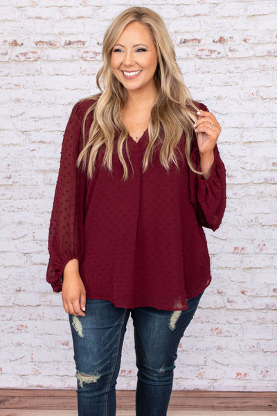top, shirt, blouse, burgundy, red, polka dot, bubble sleeve, see through
