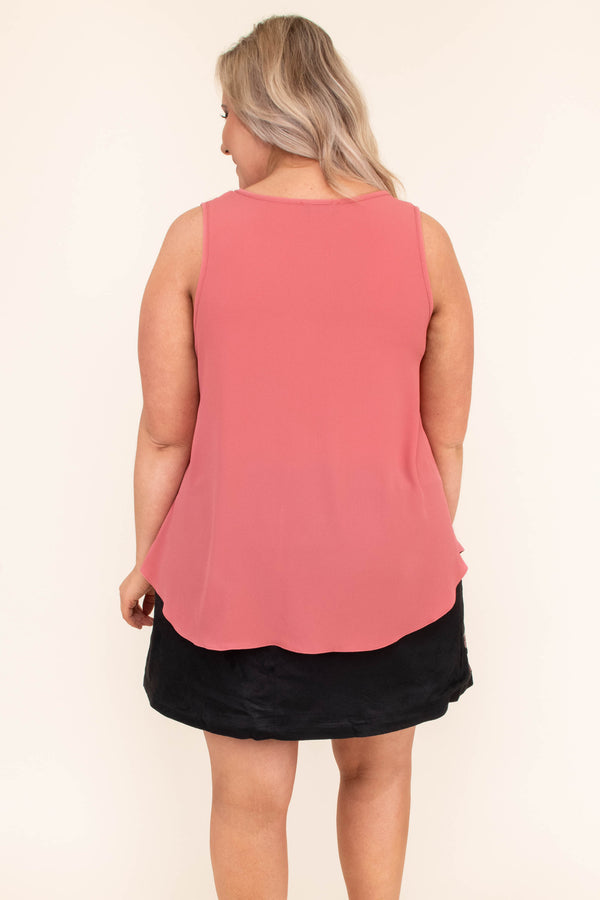 tank, scoop neck, flowy, mauve, thick straps, curved hem