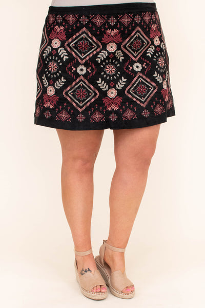 skirt, short, suede, black, embroidered, burgundy, mauve, green, white, comfy