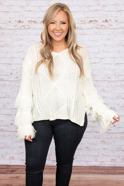top, sweater, long sleeve, white, ivory, fringe sleeves