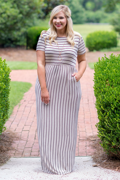 The Thought Of You Maxi Dress, Oatmeal-Black