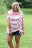 Blurred Lines Top, Ivory-Red