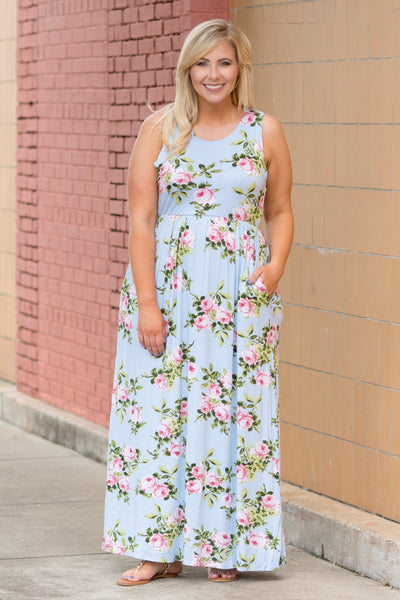 Follow The Flowers Maxi Dress, Blue