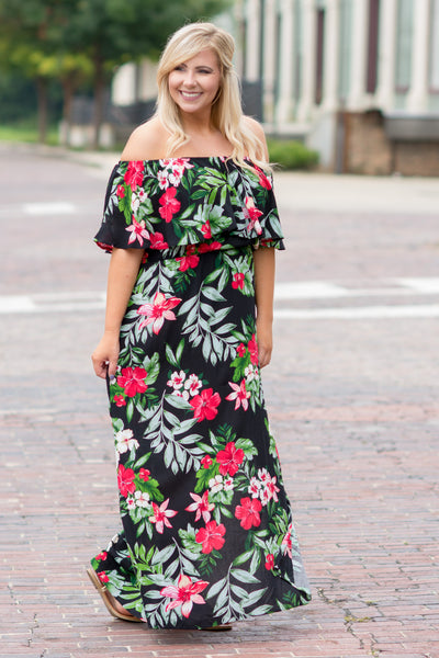 Urban Garden Maxi Dress, Black