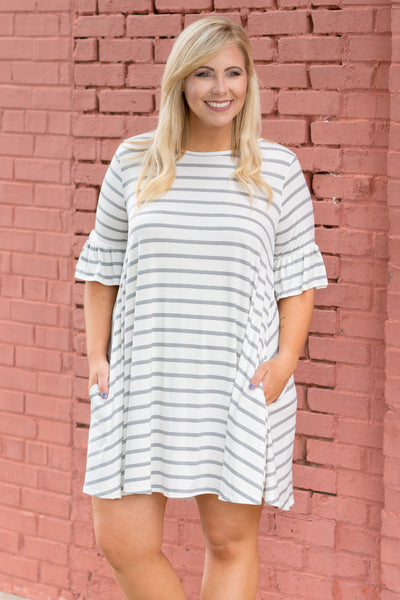 Stripe Up A Convo Dress, Ivory-Heather Grey