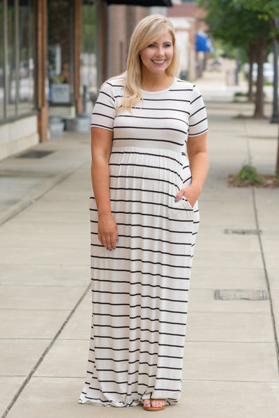 Greatest Impression Maxi Dress, Ivory-Black