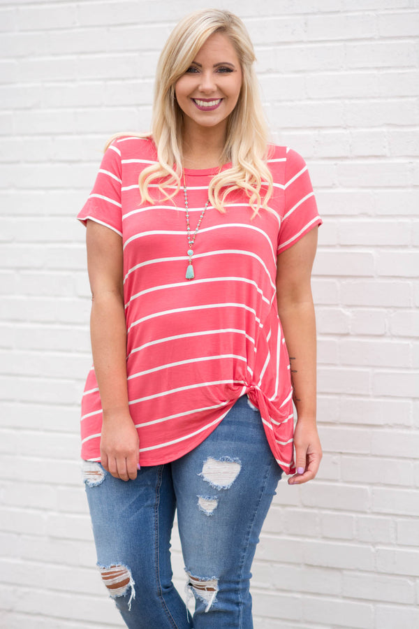 shirt, short sleeve, knotted hem, long, loose, coral, white, striped, comfy