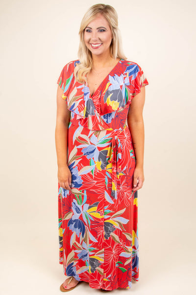Meant For The Tropics Maxi Dress, Coral