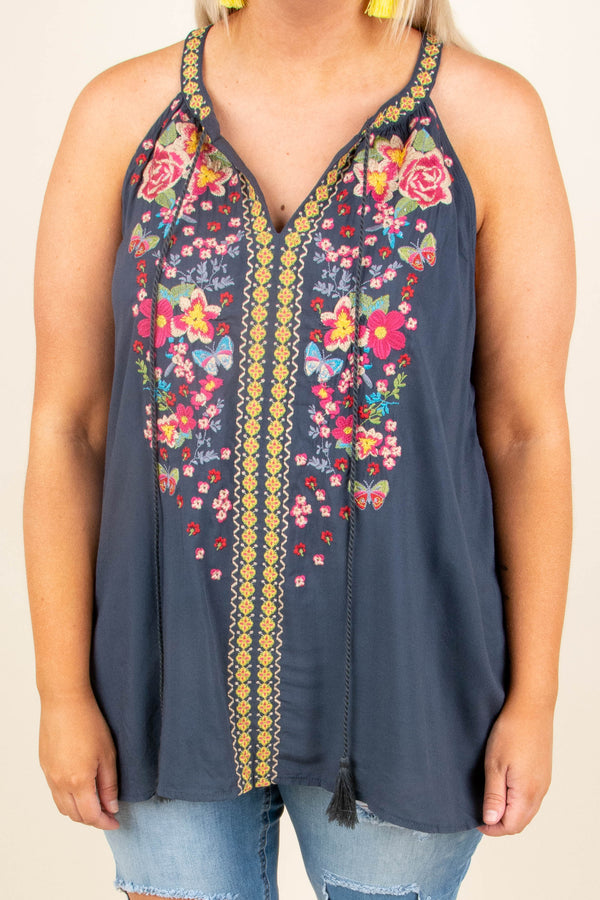 tank, halter neck, vneck, flowy, tassels, charcoal, embroidery, yellow, pink, green, blue, purple, comfy, spring, summer