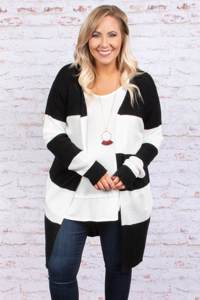cardigan, long sleeve, long, flowy, black, white, striped, outerwear, comfy