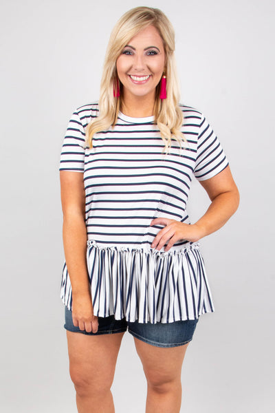 Accidentally In Love Top, Ivory-Navy