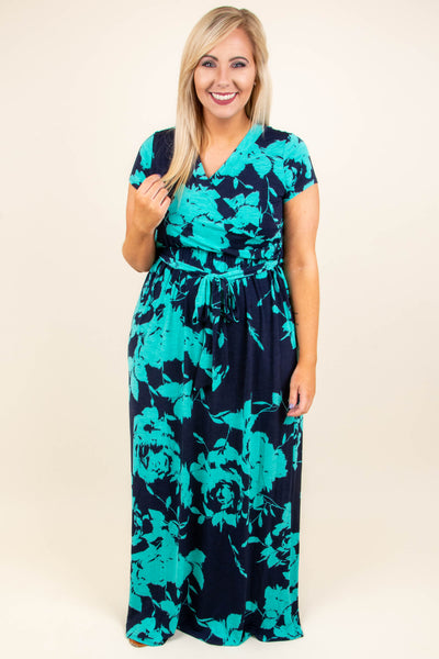Lust For Life Maxi Dress, Navy-Mint