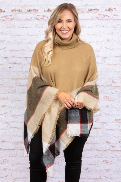 top, poncho, taupe, plaid detail, black, white, red, flowy, cozy