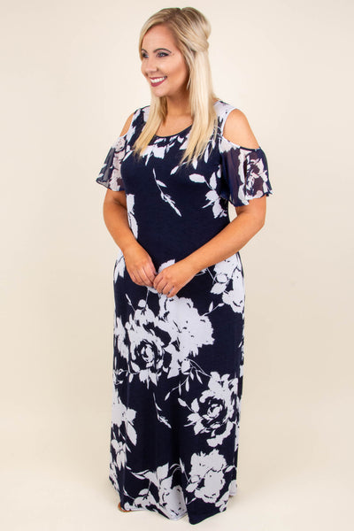 Figure You Out Maxi Dress, Navy-Off White
