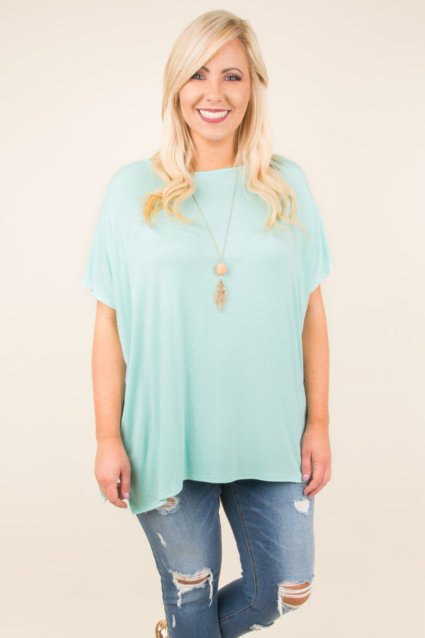 tunic, short sleeve, mint, solid, comfy, flowy, side slits