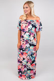 dress, maxi, off the shoulder, black, white, red, green, floral, spring, summer