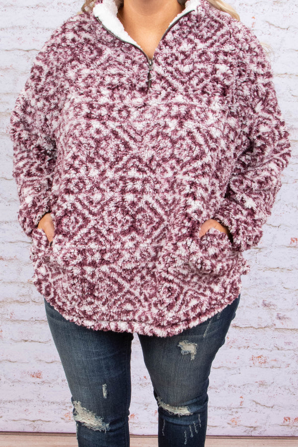 Crisp Winds Pullover, Burgundy