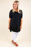 tunic, short sleeve, curved hem, button sides, long back, flowy, comfy, black