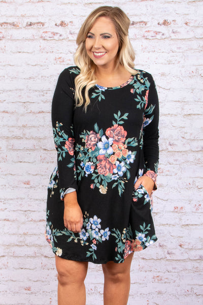 dress, short, long sleeve, pockets, black, floral, red, green, blue, white, comfy, fall, winter
