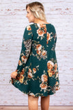 dress, short, long sleeve, pockets, flowy, green, floral, orange, white, black, leopard accents, comfy, fall, winter
